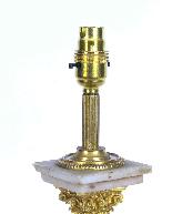 Antique Victorian Ormolu Onyx Corinthian Column Table Lamp-4