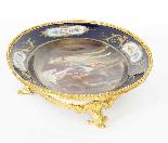 Piatto ovale in porcellana di Sevres antico montato Ormolu, -5