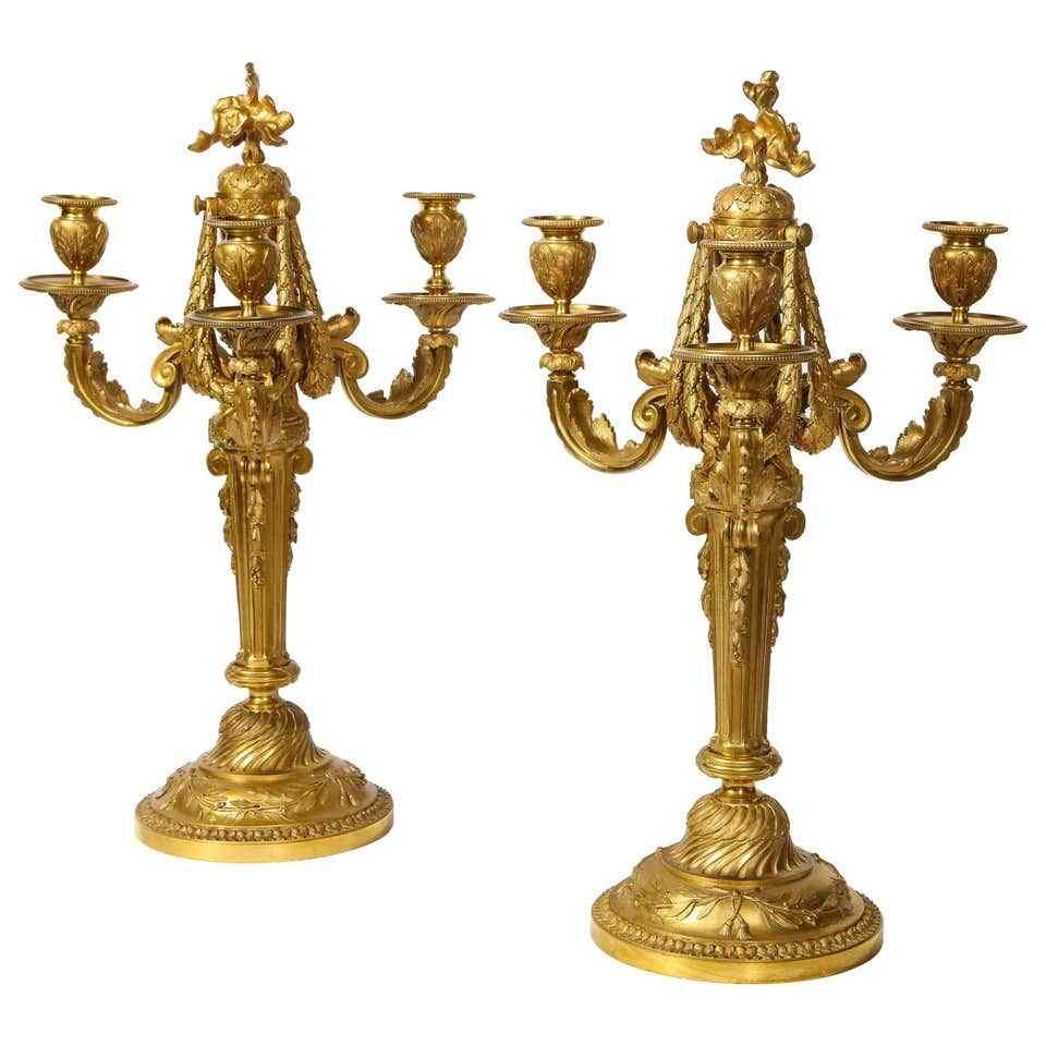 Très belle et élégante paire de bronze doré de style Louis X