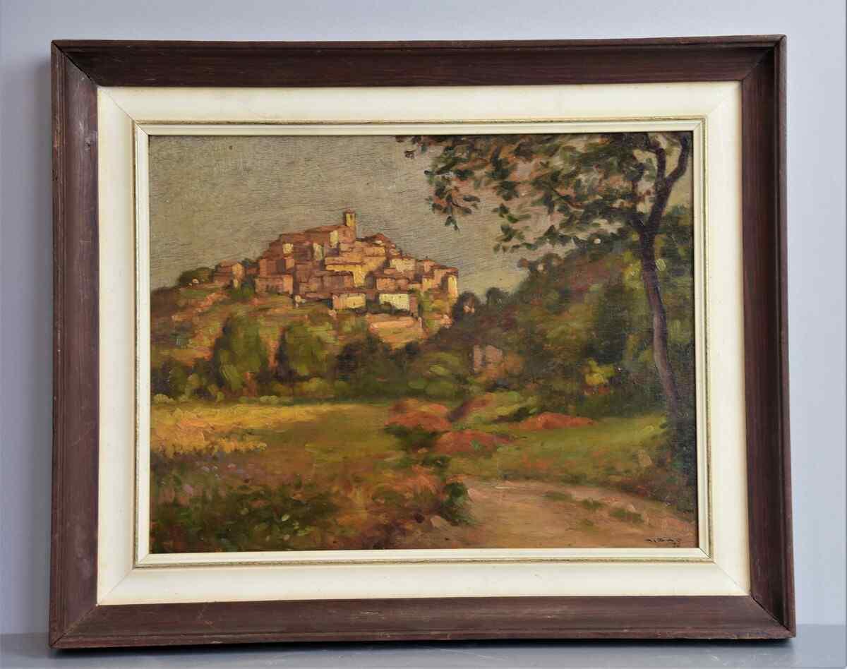 Dipinto del 1900 olio su tavola-pittore vedutista Italo Fran