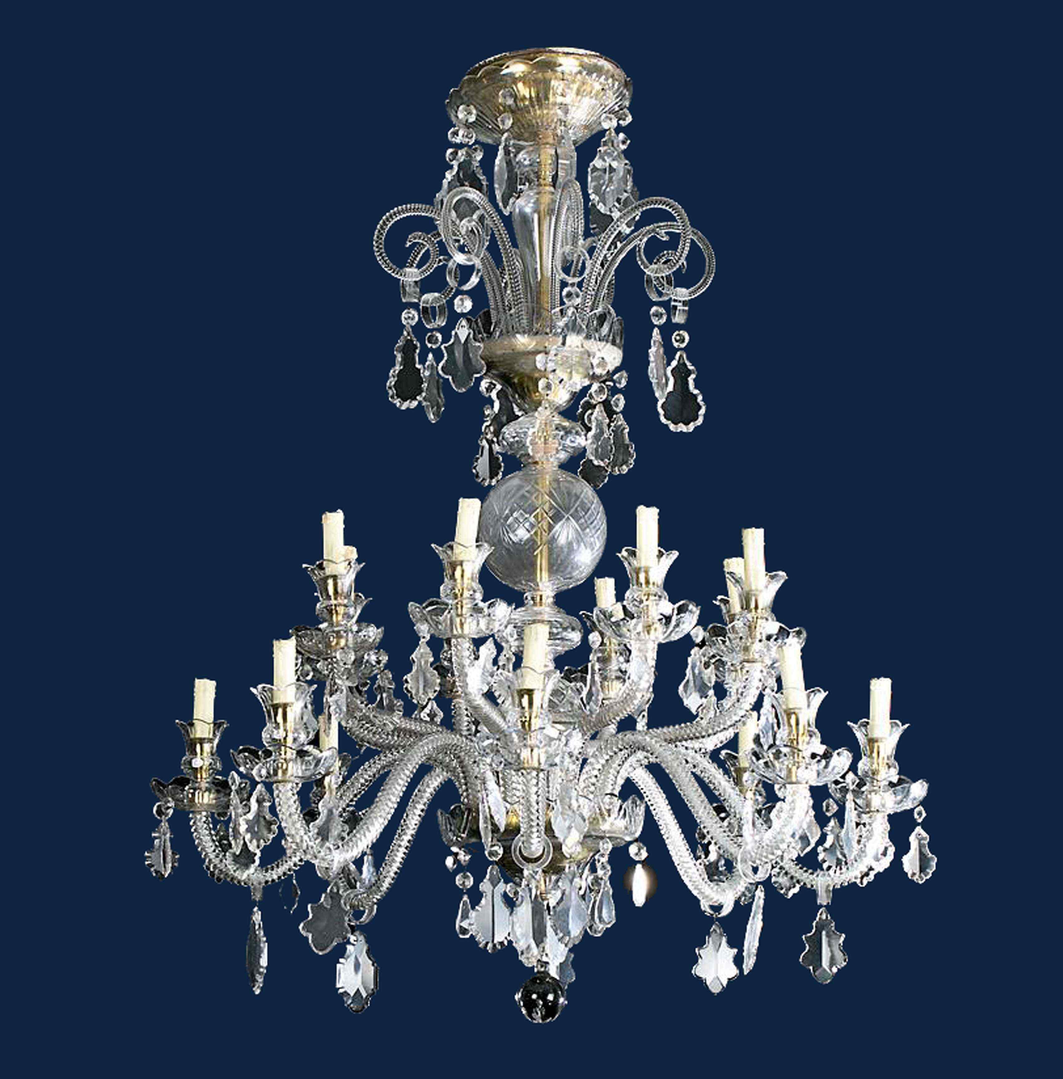 Lampadario a 15 luci, XX secolo, Vetro, h cm 110
