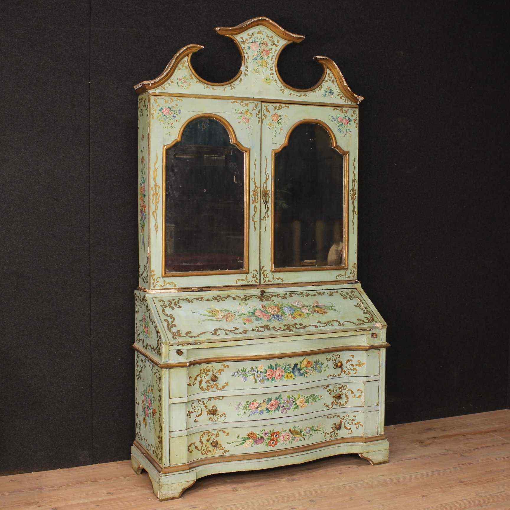 Trumeau veneziano in legno laccato e dipinto del XX secolo