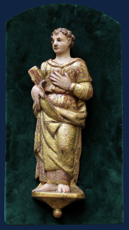 XVII secolo, Figura stante in altorilievo, Legno, h. cm 40,5
