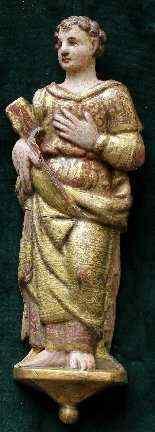 XVII secolo, Figura stante in altorilievo, Legno, h. cm 40,5-0