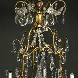 Lustre cage en bronze doré à pampilles, XIXe-2