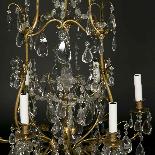 Lustre cage en bronze doré à pampilles, XIXe-3
