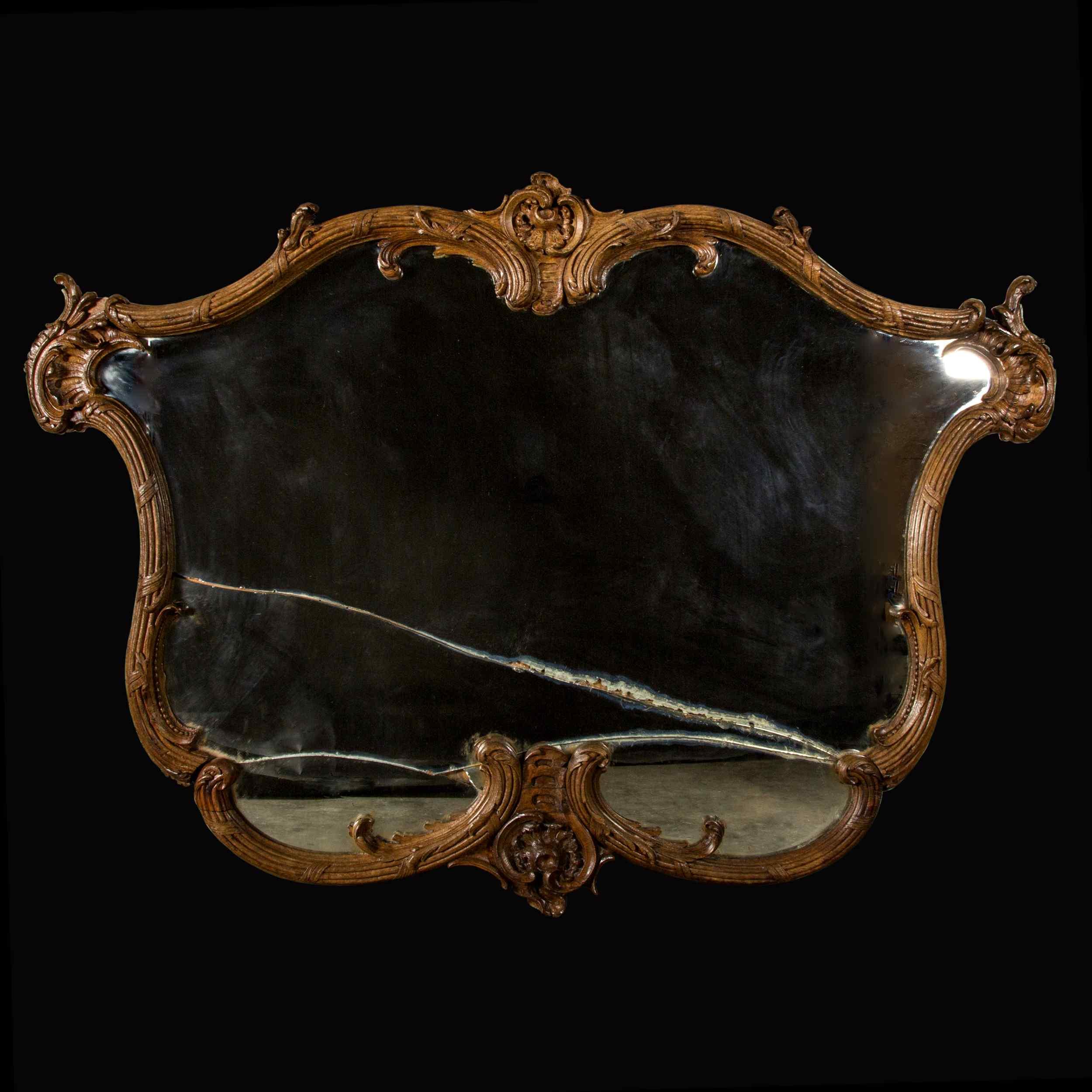 Carved Walnut Mirror 19th Century Anticswiss