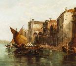 Dipinto ad olio antico Grand Canal Alfred Pollentine 1877-2