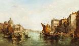 Dipinto ad olio antico Grand Canal Alfred Pollentine 1877-4