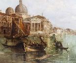 Dipinto ad olio antico Grand Canal Alfred Pollentine 1877-8