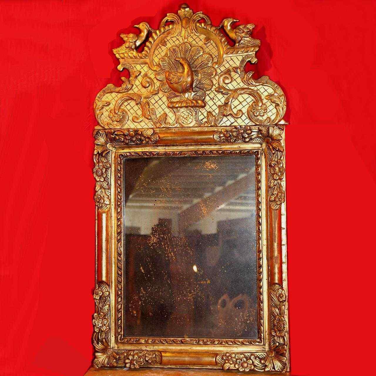 Specchio antico in legno dorato xviii secolo anticswiss for Specchio antico rovinato