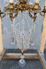 Grand lustre montgolfière en bronze et cristal, XXème siècle-12
