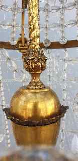 Grand lustre montgolfière en bronze et cristal, XXème siècle-0