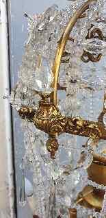 Grand lustre montgolfière en bronze et cristal, XXème siècle-8
