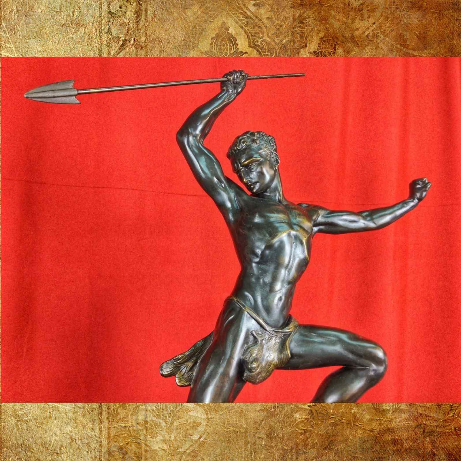 Jean De Roncourt Scultura Art Deco Caccia all'Aquila H 64 cm