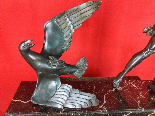 Jean De Roncourt Scultura Art Deco Caccia all'Aquila H 64 cm-0