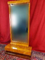 Specchio Art Déco in betulla e noce del XX secolo-1