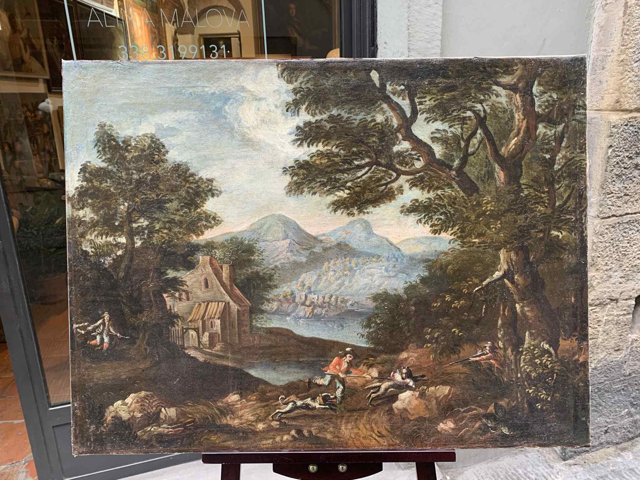 Paesaggio Con Scena Di Caccia al lupo. XVIII secolo
