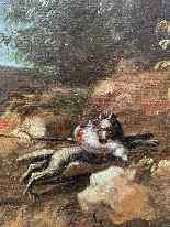 Paesaggio Con Scena Di Caccia al lupo. XVIII secolo-4