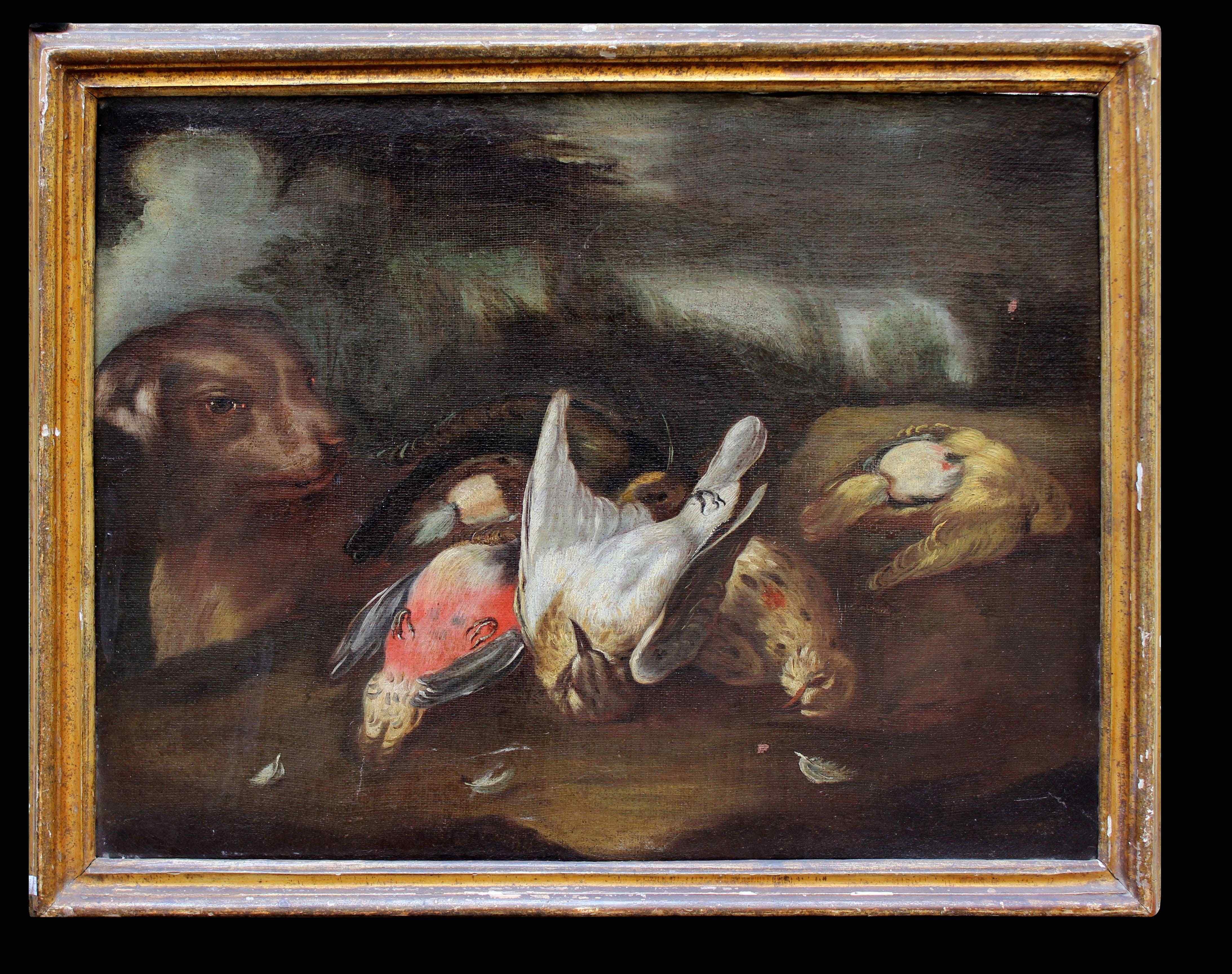 Cacciagione con cane, Baldassarre De Caro, XVII-XVIII