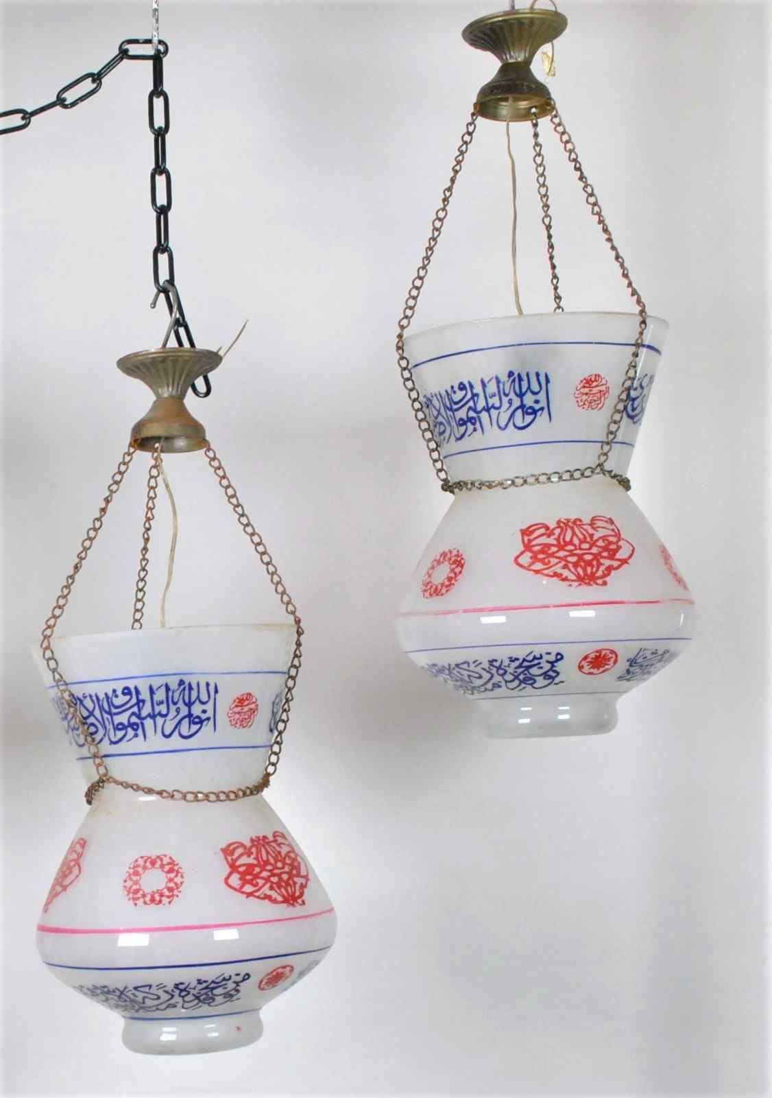 Coppia di lampade da moschea in vetro dipinto, primi del XX