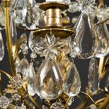 Lustre cage en bronze doré à pampilles, XIXe-6