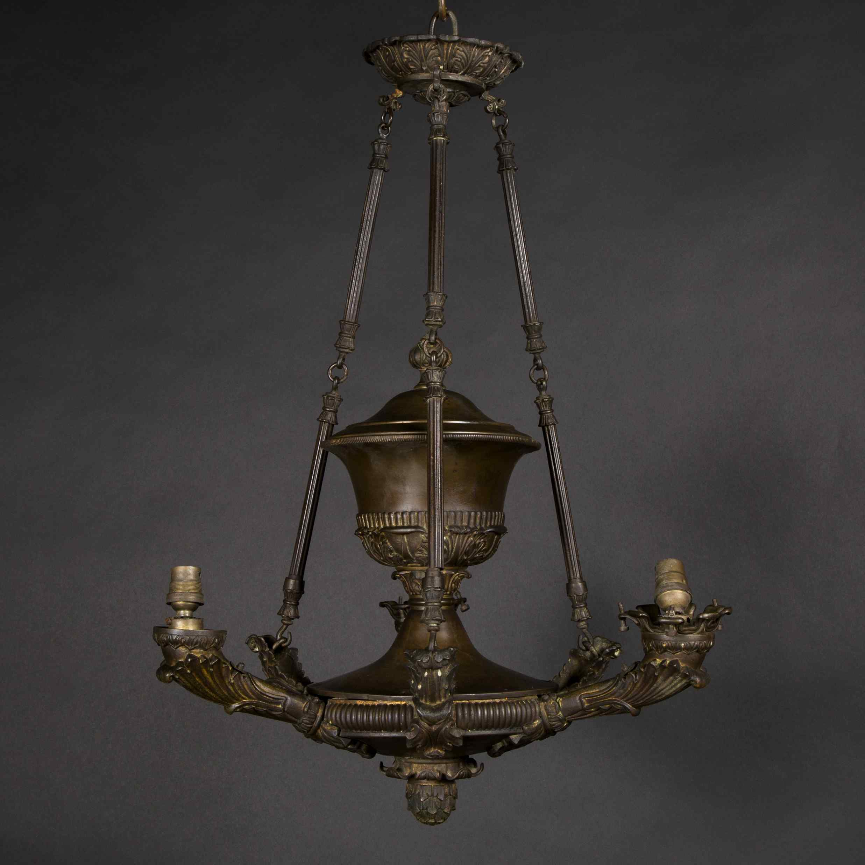 Lustre de style empire en bronze, XIXe
