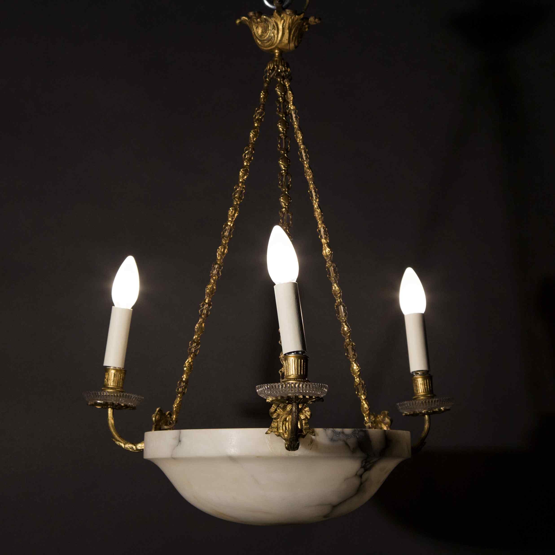 Lustre en bronze doré, cristal et coupe en albatre, XIXe