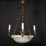 Lustre en bronze doré, cristal et coupe en albatre, XIXe-1