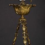Lustre en bronze doré, cristal et coupe en albatre, XIXe-3