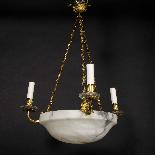 Lustre en bronze doré, cristal et coupe en albatre, XIXe-2