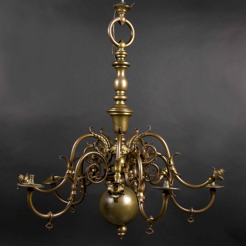 Lustre Hollandais en bronze à patine brune, XIXe