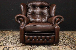Poltrona Chesterfield bergere in pelle Springvale marrone-1