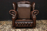Poltrona Chesterfield bergere in pelle Springvale marrone-8