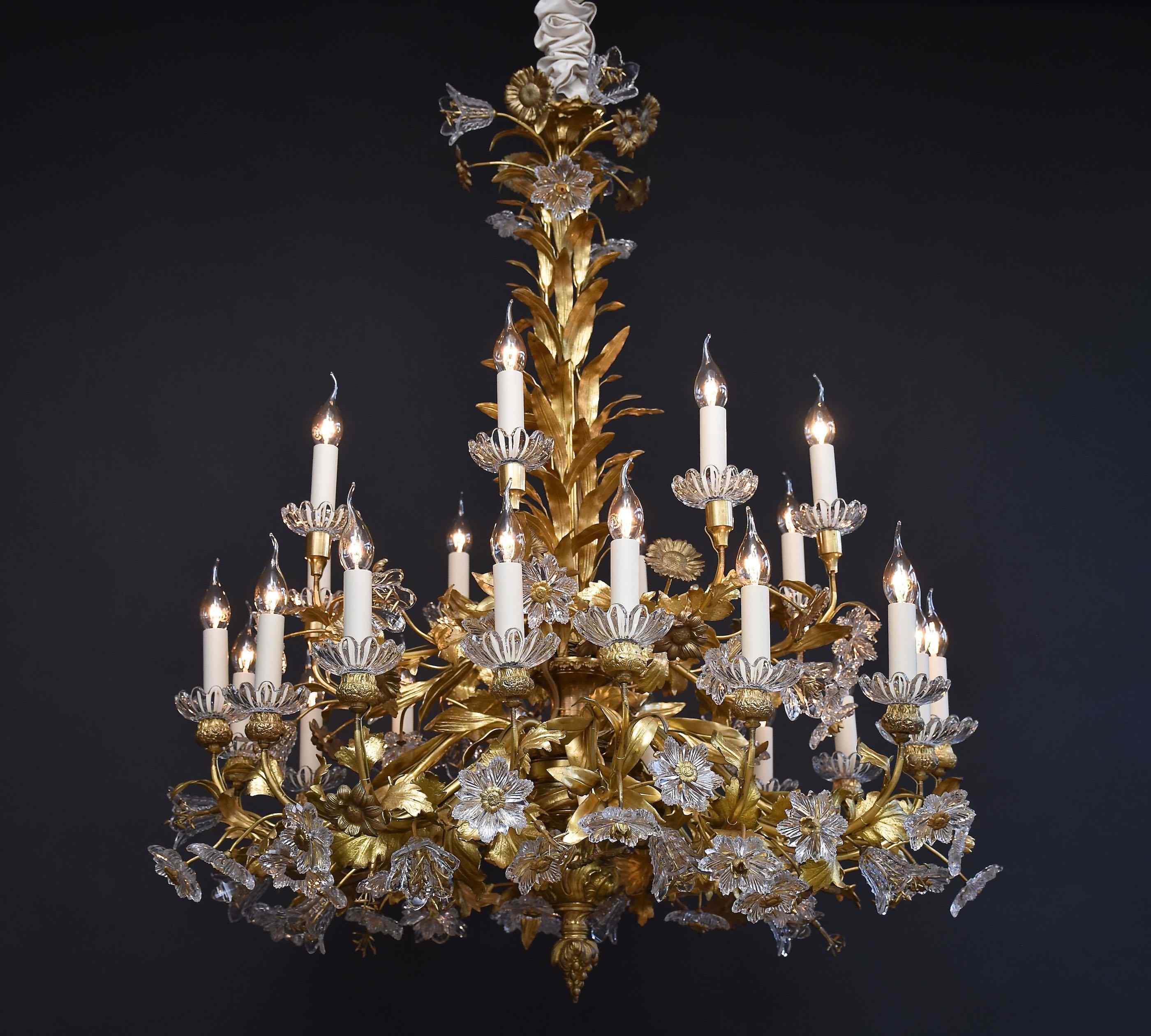 19e s. lustre floral en bronze doré