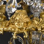 Lustre aux visages en bronze doré, XIXe-5