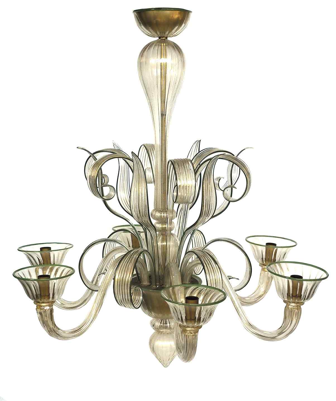 Lustre en verre de Murano à six lumières