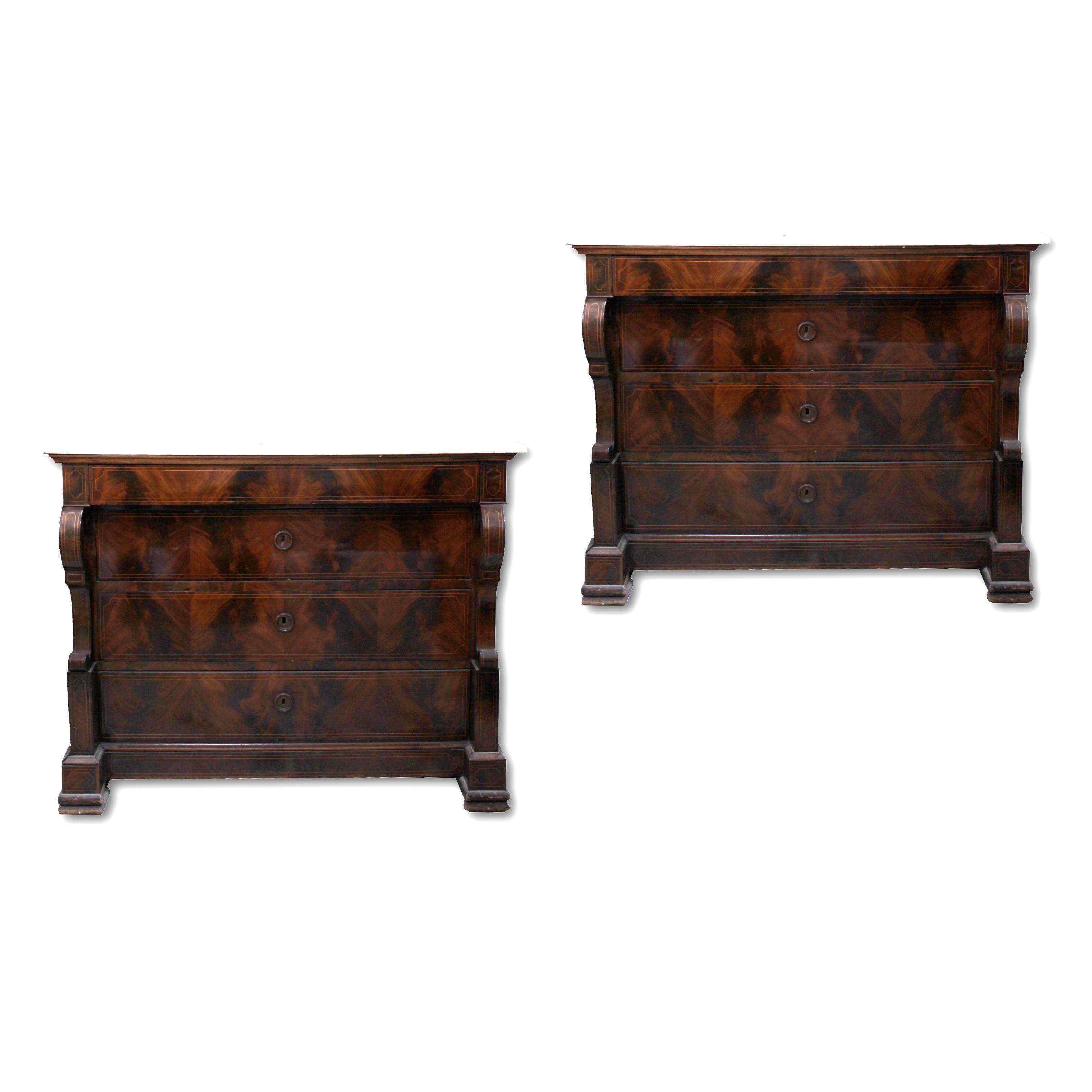 pair of antique chests of drawers