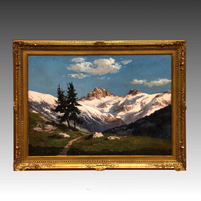 Dipinto Raffigurante Montagne Innevate Leonardo Roda
