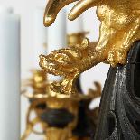 Lustre aux cinq dragons en bronze à double patine, XIXe-6