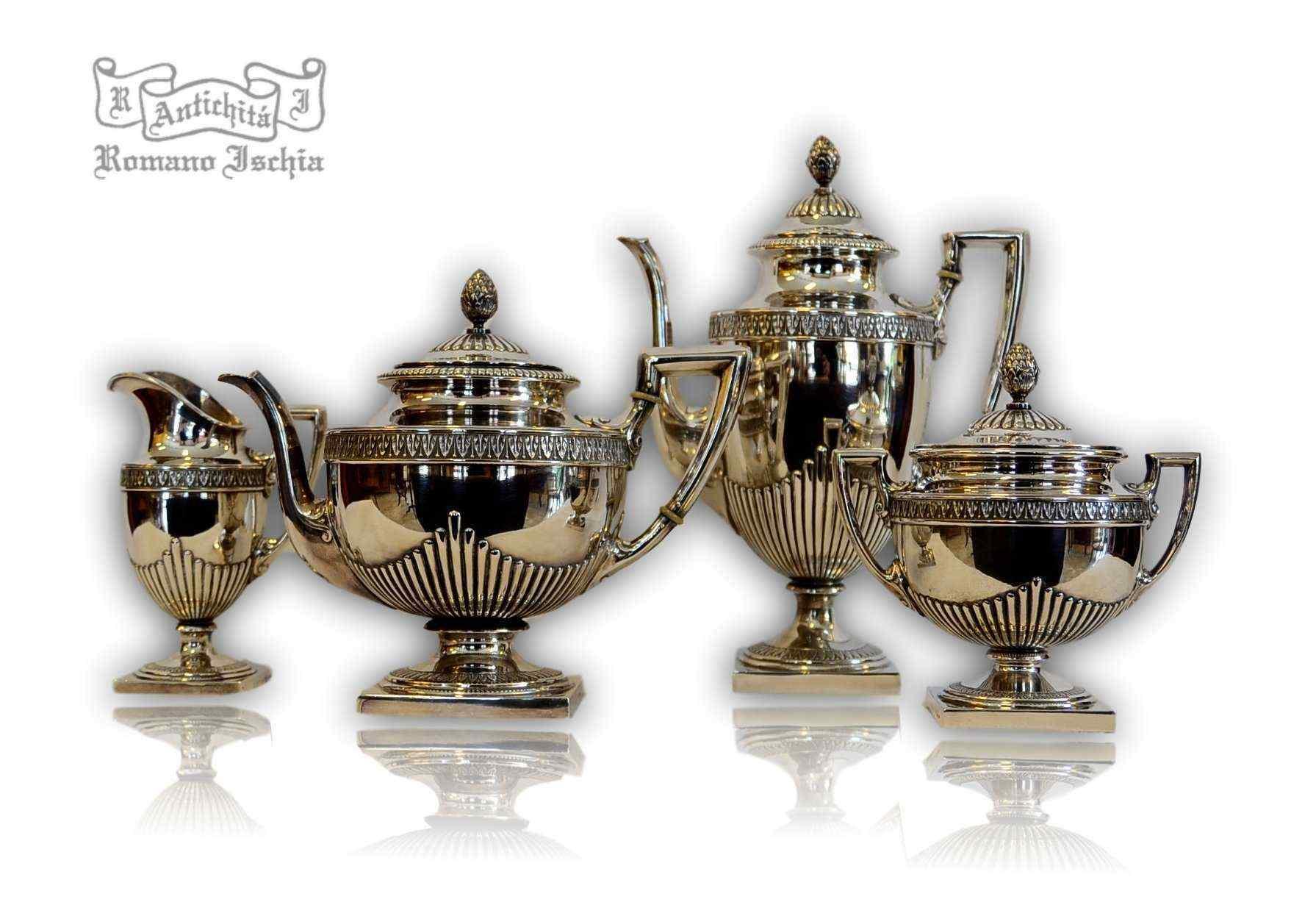 Servizio da the e caffe in argento 800/°°°, Germania