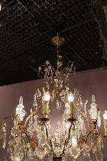 Antico lampadario di cristallo e bronzo-4