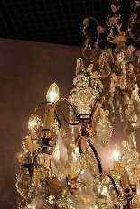 Antico lampadario di cristallo e bronzo-6