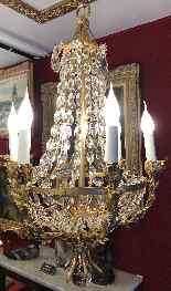Lustre Attribué à Jansen En Bronze Et Laiton Doré-8