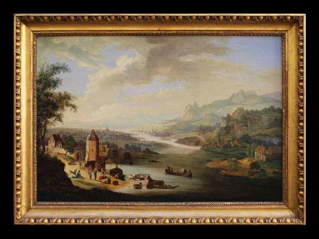 Dipinto raffigurante un paesaggio fluviale, inizio XIX sec.
