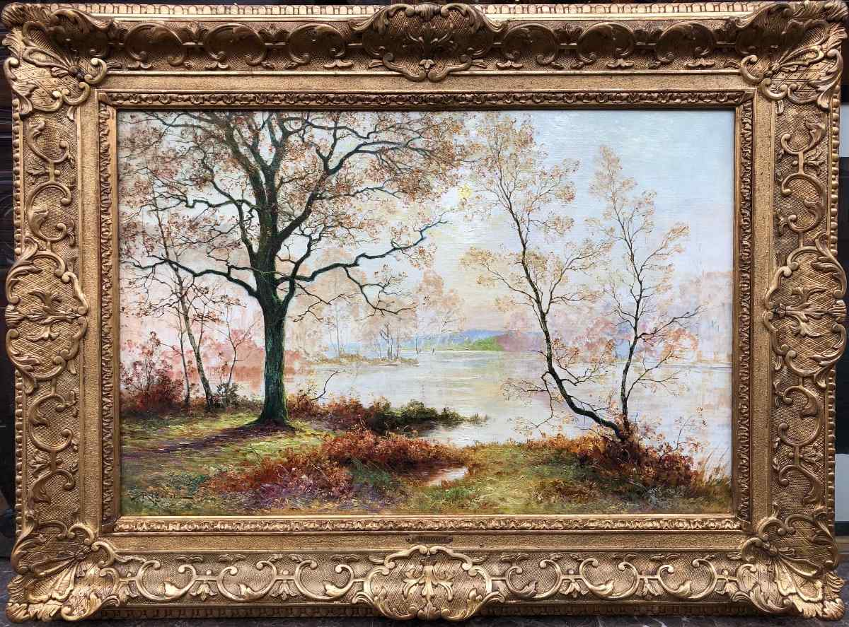Edge of a pond by Albert Rigolot Signed oil