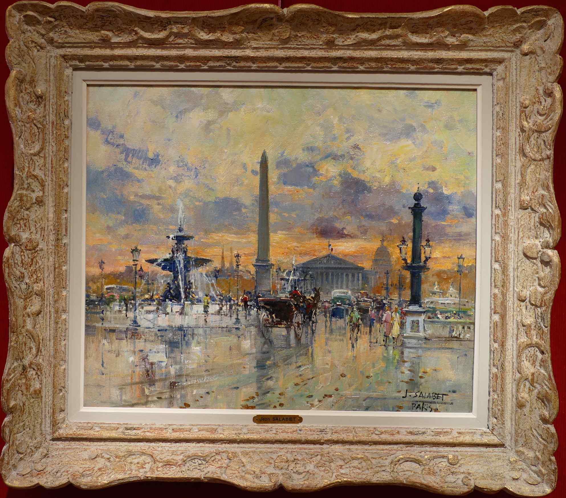 Paris Place De La Concorde Oil Signed by Jean Salabet