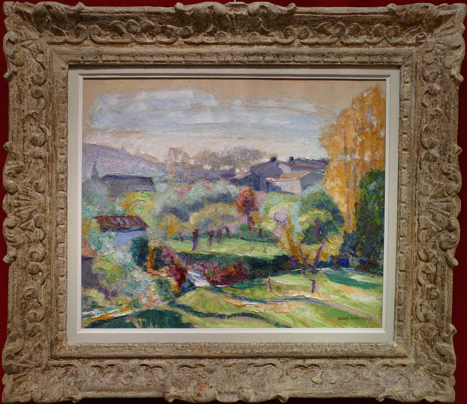 View Of A Village Oil Canvas Signed By Victor Charreton