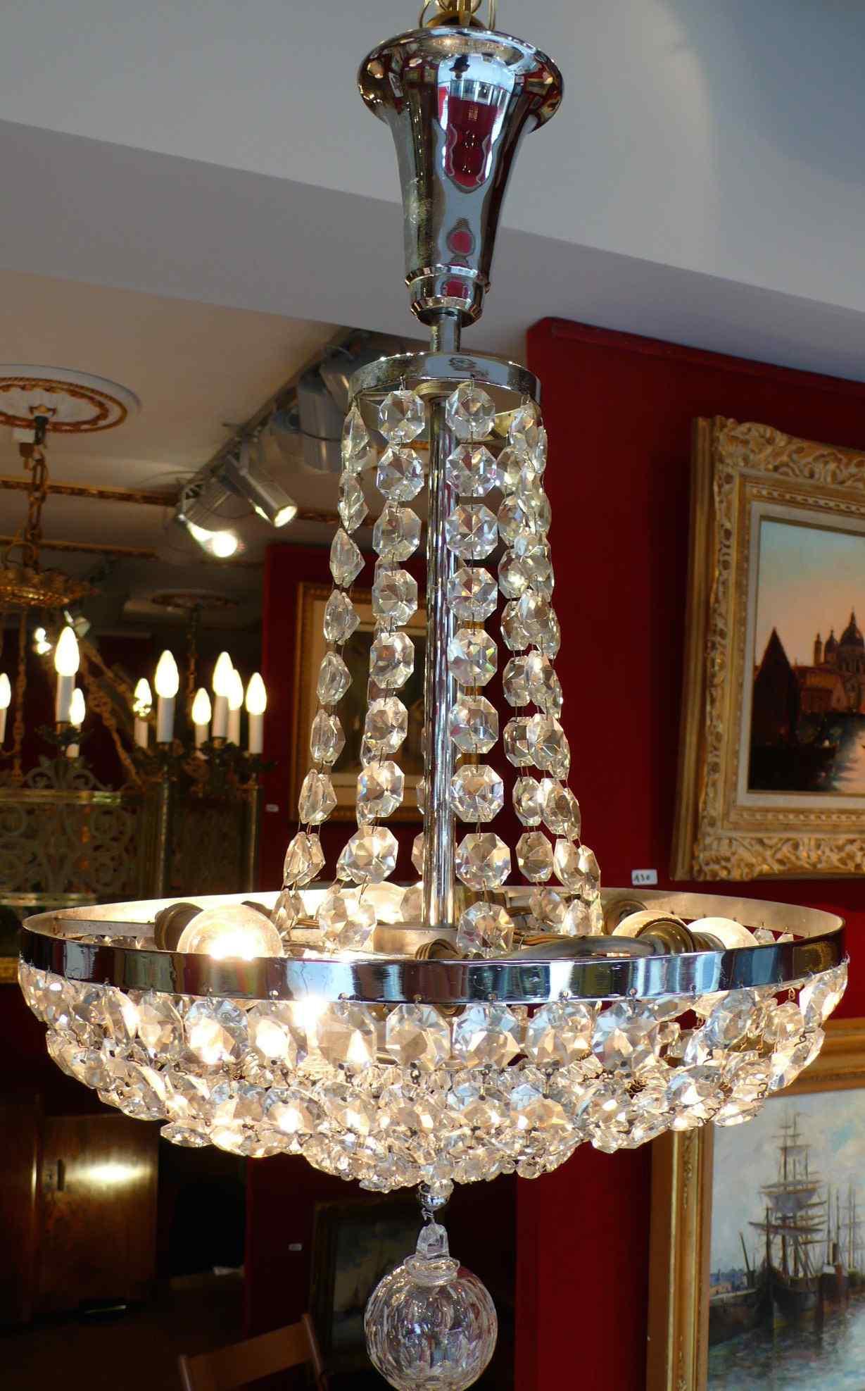 Lustre Fontaine Epoque Art Deco En Cristal De Baccarat