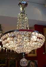Lustre Fontaine Epoque Art Deco En Cristal De Baccarat-1